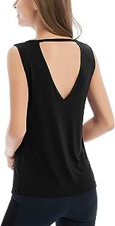 Yucharmyi Women's V Neck Workout Tshirt Sleeveless Sexy T Shirt Backless Active Shirt Slimming Tank