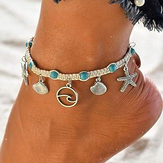 Handcess - Cavigliera a forma di stella marina, stile boho, in argento, a forma di conchiglia, a forma di onda, da spiaggi...