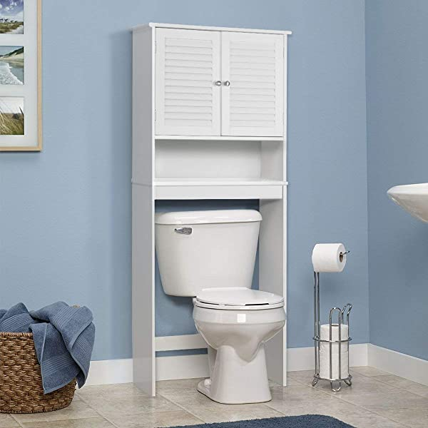 Giantex Bathroom Over The Toilet Space Saver Storage With Shelf And 2 Door Cabinet White