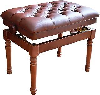 Gprice Regulowana wysokość taboret na ławkę fortepianową, importowany buk, wygodna skórzana poduszka, klasyczny styl, dost...