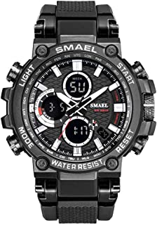 Men's Sports Watch, Large Dial Outdoor Tactical Watch, Classic Digital Dual Display Watch