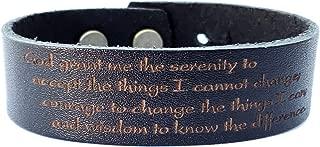 DIllon Rogers Serenity Prayer Bracelet, Engraved Leather Bracelet - Men's Length -(Black) Women's Lengths Also Available (Black)