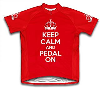Scudo Keep Calm and Pedal On Microfiber Short-Sleeved Cycling Jersey