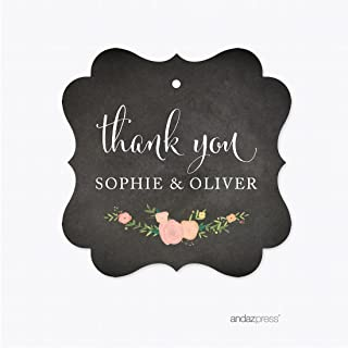Andaz Press Chalkboard Floral Thanksgiving Fall Autumn Party Collection, Personalized Fancy Frame Gift Tags,Thank You, 24-Pack, Custom Name