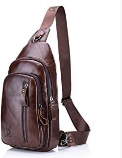 Mochila de cuero vintage para hombre, bolsa de pecho, mochila cruzada para el hombro, mochila al aire libre