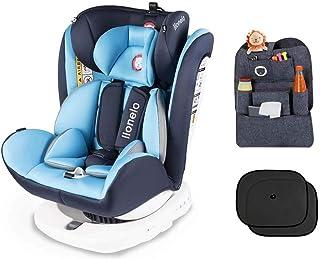 Lionelo Bastiaan - Asiento infantil para coche (grupo 0+ 1 2 3 (0-36 kg), ISOFIX 360°, certificado TÜV SÜD, ECE R 44/04) azul Azul + Set