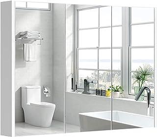 COSTWAY Baño Armario con Espejo de Pared Estante Gabinete