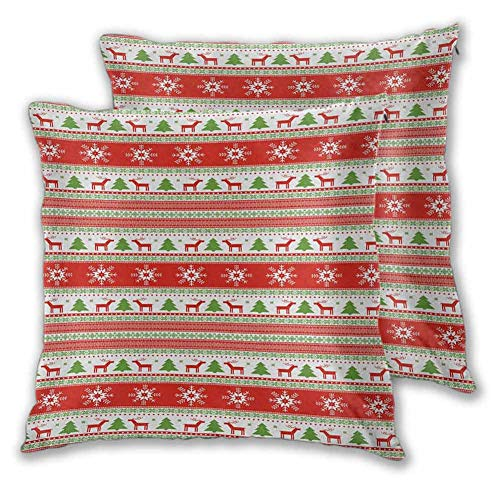 Christmas Decorative Square Pillow Cover, 26 x 26 Inch Traditional Reindeer Xmas Tree Snowflake Border Knitted Seem Pattern Comfortable and Soft Christmas Decoration Vermilion Green White Set of 2