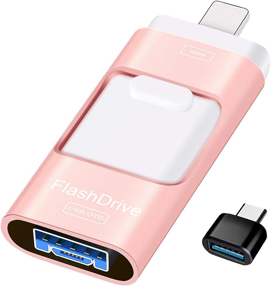 Sunany USB Stick 128gb Speicherstick Externer Speichererweiterung, Photostick Kopieren von Bildern und Videos mit Einem klick,Datenstick für iPhone, iPad, Android, PC und Weiteren Geräten(Rosa)
