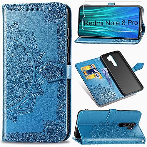 Funda Xiaomi Redmi Note 8 Pro + Protector de Pantalla Cristal Templado, Carcasa Libro con Tapa Flip Case Antigolpes PU Cuero Suave Soporte con Correa Cordel - Mandala Azul