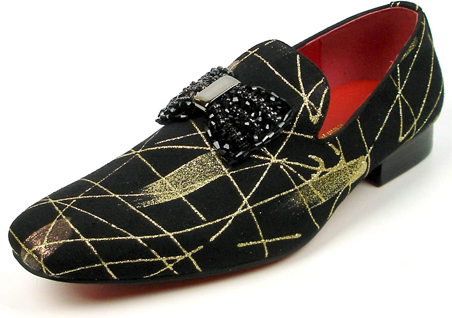 Fiesso by aurelio Garcia FI-7426 Black Suede gold Lines Bow Tie Ornament Slip on Loafer - European shoes Designs