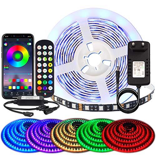 BIHRTC 5050 SMD 2m 6.56ft RGB 120 Leds LED Streifen Musikalische LED Band Leiste APP Steuerung LED Lichterkette für Schlafzimmer TV Zuhause Schrankdek