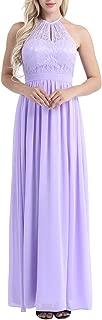 iiniim Women's Casual Floral Lace Halter Neck Sleeveless Vintage Wedding Maxi Dress