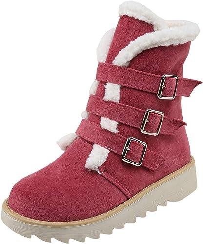 ZHRUI Las damenes Stiefel de Nieve de Moda de Gamuza Punta rotonda Hebilla Correa schuhe Planos Mantener Caliente Tubo Corto (Farbe   rot, tamaño   38)