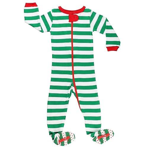 46300d88b Elowel Baby Boys Girls Footed Christmas Striped Pajama Sleeper Cotton Size  6M-5Y