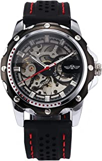 Men's Wrist Watch Automatic Mechanical Self-Wind Sport Skeleton Silicone Band