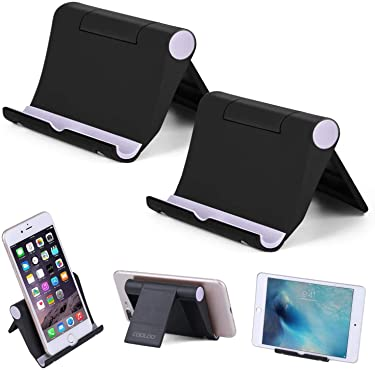 """Cell Phone Stand Multi-Angle,【2 Pack】 Tablet Stand Universal Smartphones for Holder Tablets(6-11""""), e-Reader, Compatible Phone XS/XR/8/8 Plus/7/7 Plus, Galaxy S8/S7/Note 8, Air, Mini, Pixel 2(Black)"""