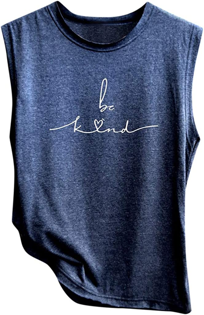 Tank Tops For Women Sleeveless Tank Top Funny Letter Print Vest Sleeveless Solid Color T-Shirt Summer Camisoles
