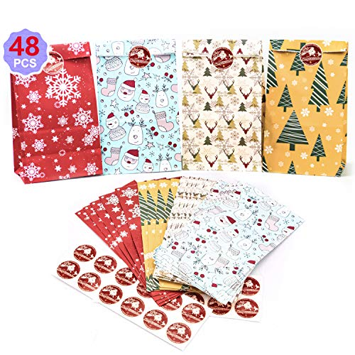 Papiertüten,Geschenktüten Weihnachten,48 Pcs Weihnachtskalender Papiertüten Klein Tüten Papier Süßigkeiten Tasche Partytüten Weihnachten Geschenktasche Tüten Set mit Stickern Party Geschenk Taschen