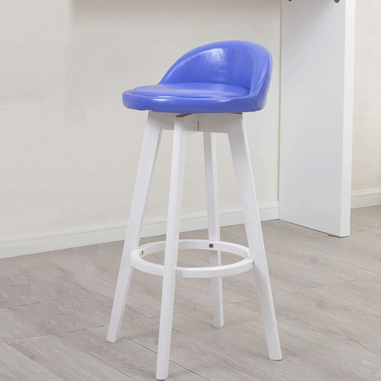TXXM Barstools Solid Wood Bar Stool bluee Soft Pad Can redate The Stool Bar Chair Bar Chair High Chair (Size   63cm)