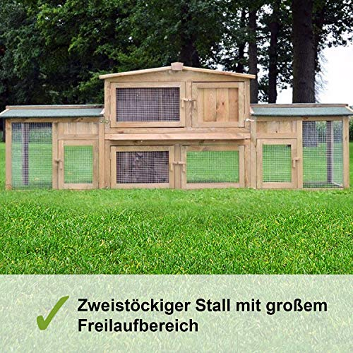 """ZooPrimus Kleintier-Stall Nr 24 Kaninchen-Käfig """"HASI"""" Meerschweinchen-Haus für Außenbereich (Geeignet für Kleintiere: Hasen, Kaninchen, Meerschweinchen usw.) - 2"""
