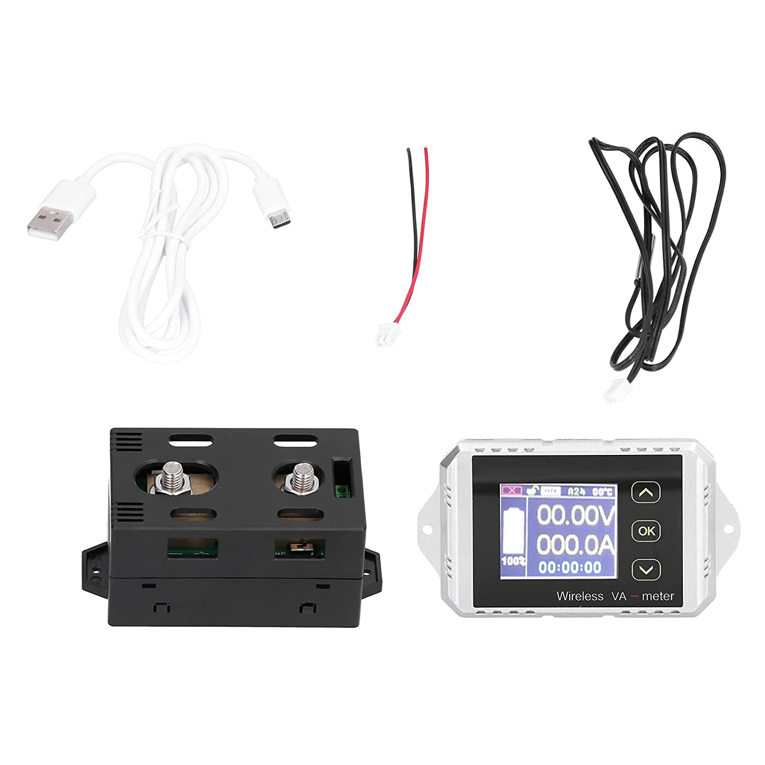 Color Screen DC Voltmeter Ammeter, Quickly Test Accuracy VAT-1300 Coulomb Counter Color Screen Displays for Battery Tester for Battery Maintenance Place