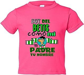 b4b434cbf Camiseta niño soy del Betis como mi padre personalizable con nombre - Rosa,  5-