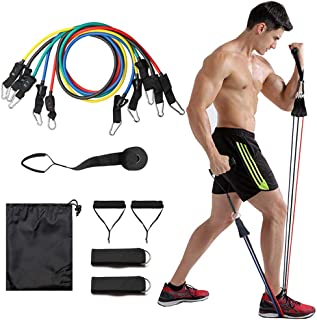 ZoneYan Set med motståndsband, fitness träningsrör set, fitness stretch träningsband 11 st, fitnessband kit med dörrankarh...