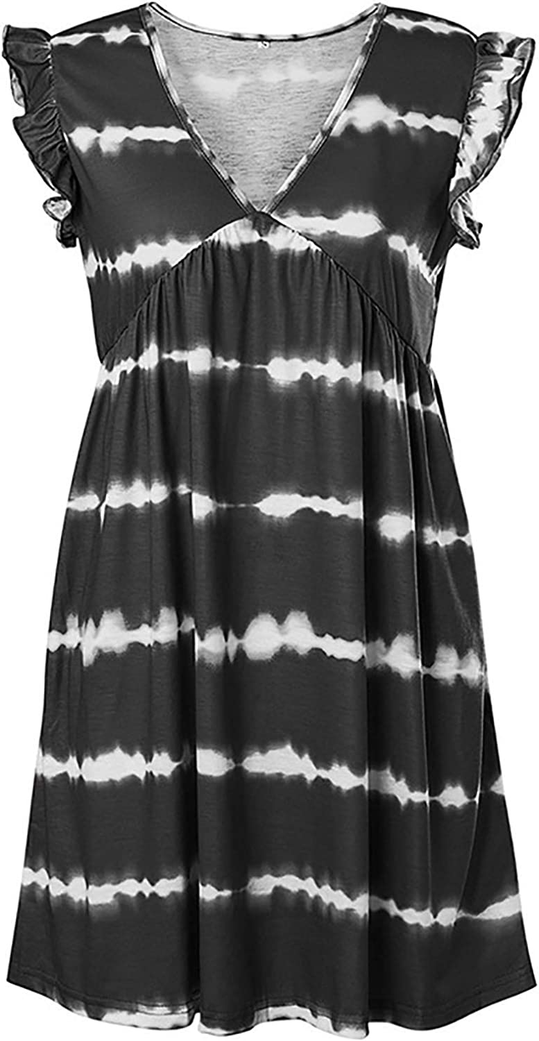 TOPFF Women's Vest, Women's tie-dye Fashion V-Neck Sleeveless Shirt Exercise Loose Soft Comfortable Casual Loose Dress