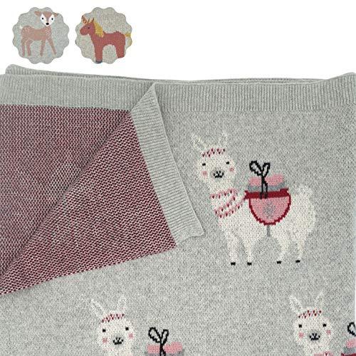 nidito® Premium Bio-Baby-Decke Mädchen/Bio-Baumwoll-Decke Baby, 80x100 cm, 100% Bio-Baumwolle, Lama, Llama, Alpaka, Grau, Beige, Alt-Rosa, Wolldecke ideal als Erstlings-/ Kuscheldecke (Alpakalaka)