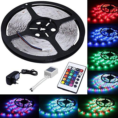 CHINS LED Strip Licht Streifen 5m Band Leiste mit 300 LEDs (SMD 3528) inkl. Netzteil & Fernbedienung