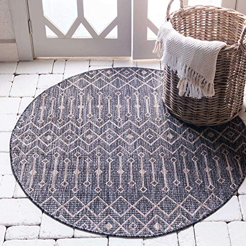 Unique Loom Outdoor Trellis Collection Tribal Geometric Transitional Indoor and Outdoor Flatweave Charcoal Gray Round Rug (5' 3 x 5' 3)