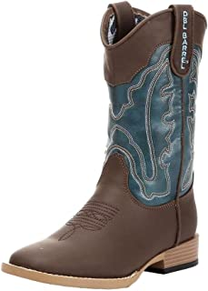 Double Barrel Boys' Open Range Cowboy Boot Square Toe Brown 10.5 D(M) US