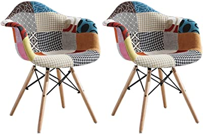 Dining Chairs 2pcs Nordic Creative Multicolor Patchwork Dining Chair Natural Beech Foot Dining Room Chairs Home Kitchen Dining Chair Kitchen Chairs (Color : A Pair)