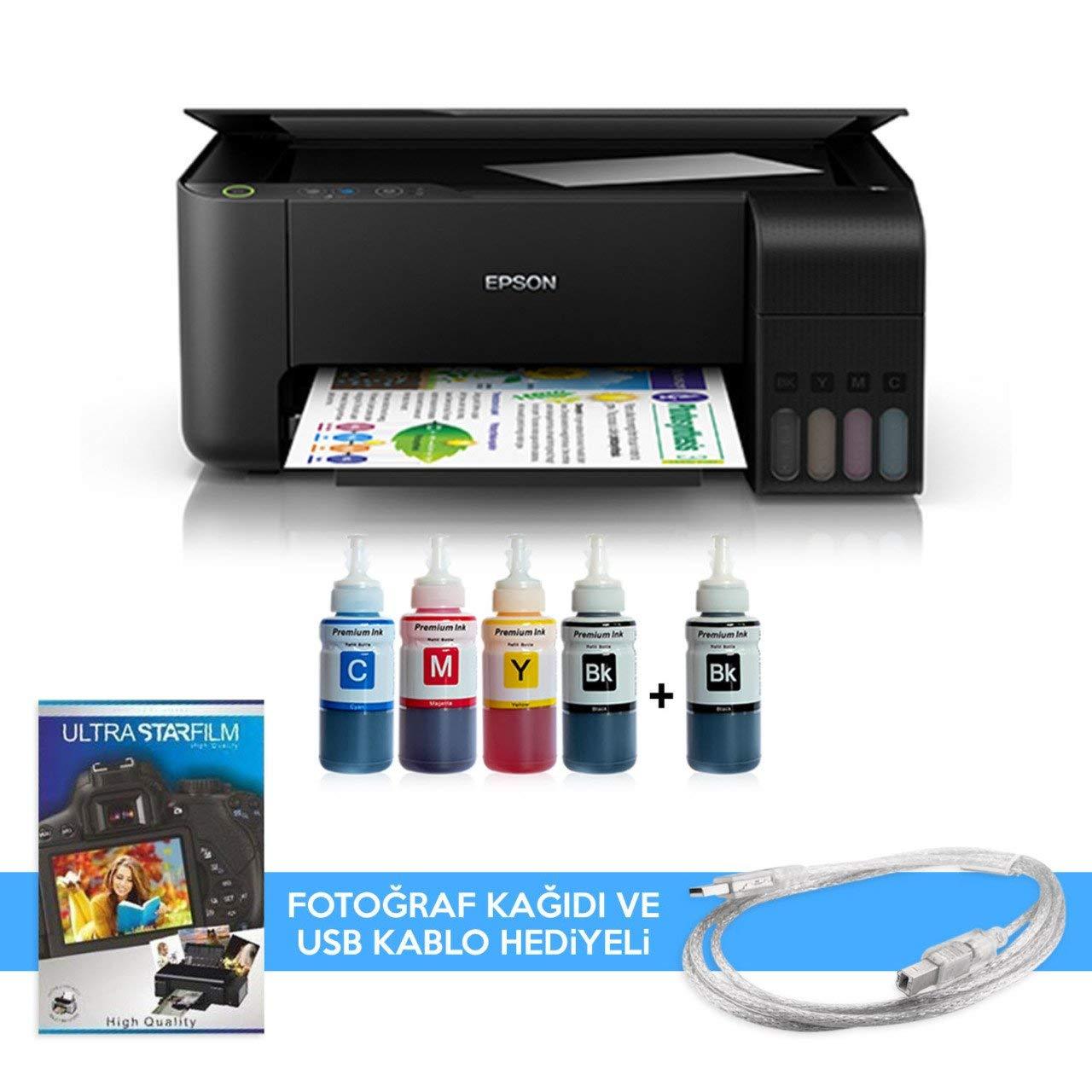 Epson Tanklı L3110 Photoink Mürekkepli Yazıcı 4 Renk Bitmeyen Kartuşlu (2  Siyah Mürekkep Hediyeli): Amazon.com.tr