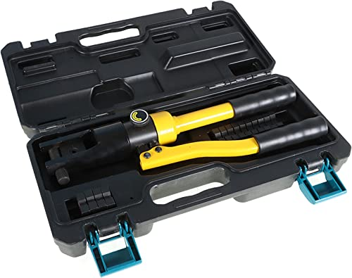 lowest findmall 7.5 Ton Hydraulic Wire Crimper Battery Lug online sale Terminal Cable Crimping Tool with 8 Pairs of Dies for Battery Welding Cables popular Power Wires Electrical Cables outlet online sale