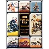 Nostalgic-Art 83018 Beste Garage - Nur Biker-Parkplätze, Magnet-Satz (9teilig)