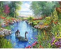 5Dダイヤモンド塗装正方形ダイヤモンド、風景湖DIY画像家の装飾のギフト、家の壁の装飾に使用-40cmx60cm