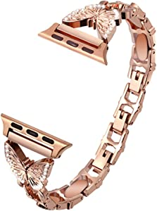 Bling Band Compatible with Apple Watch Band 38mm 40mm 42mm 44mm, Diamond Rhinestone Stainless Steel Replacement Women Jewelry Metal Wristband for iWatch Series 5/4/3/2/1 (Rose Gold, 42mm/44mm)