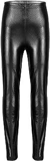 easyforever Kids Girls Shiny Metallic Solid Skinny Leggings Trousers Gymnastics Dance Costumes