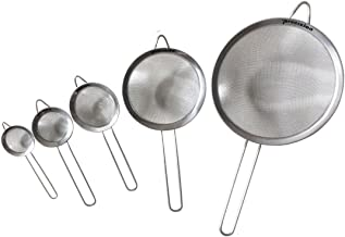 Fine Mesh Stainless Steel Strainers All Purpose Food Strainer and Colander Sieve for Superior Baking and Cooking Preparation - 5 Pack