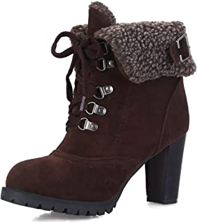 Women's Classic Lace Up Block Heel Winter Short Boots with Fur Shoes Keep Warm Ankle Boots