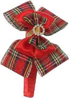 Girls Red Green Plaid Pattern Glitter Brooch Accent Christmas Headband