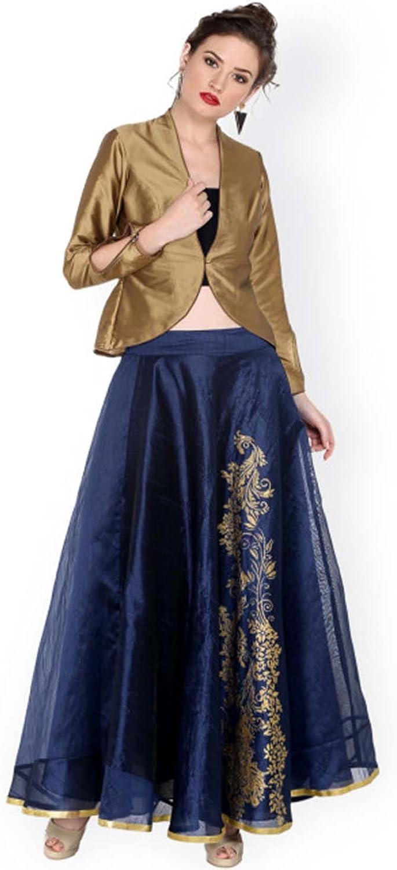 Indian Handicrfats Export Ira Soleil bluee Printed Maxi Skirts