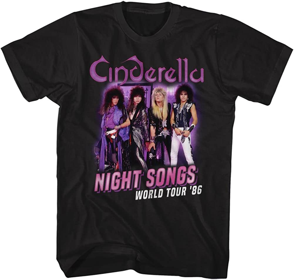 Cinderella Rock Challenge the lowest price of Japan ☆ Band Night Songs T-Shir Tour Nashville-Davidson Mall Adult Black 2-Sided
