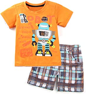Dailybella Baby Boys Clothes Short Sleeve T-Shirts Short Set 2pcs Robot Toddler Little Summer Outfits Clothing
