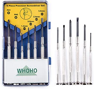 Whoho - 6 Pcs Mini Precision Screwdriver Set, Perfect Portable Repair Tool, 6 Different Sizes of Flat Head and Phillips, Suitable for DIY Projects, Glasses Repair, Game Controllers, Repair Toys, Etc.