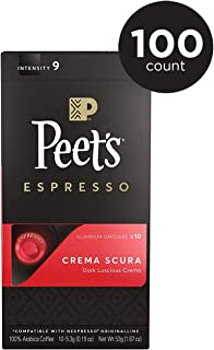 Peet's Coffee Espresso Capsules Crema Scura, Intensity 9, 100 Count Single Cup Coffee Pods, Compatible with Nespresso Original Brewers