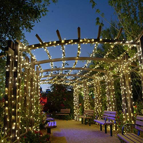 Luz de hadas, 300 luces LED solares de 8 modos, impermeable, decoración al aire libre para jardín, patio, patio, valla, boda, decoración de festivales