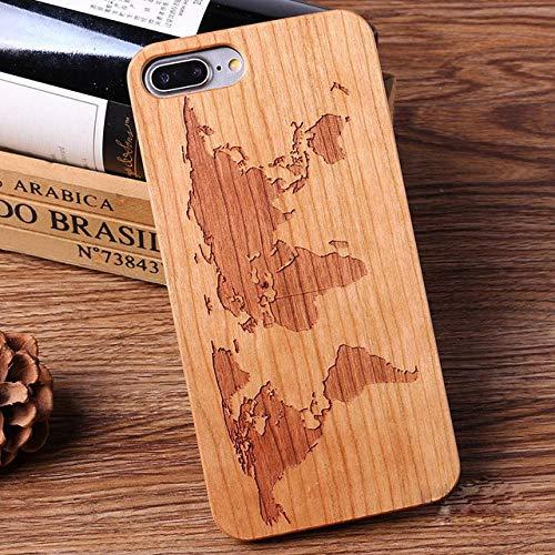 OPXZPM Hoesje voor mobiele telefoon Natuurlijke houten bamboe beschermer Hard Case Covervoor iPhone 11 Pro X XR XS Max 8 Plus 6 6S 8 7 Plus, roze, voor iPhone X XS